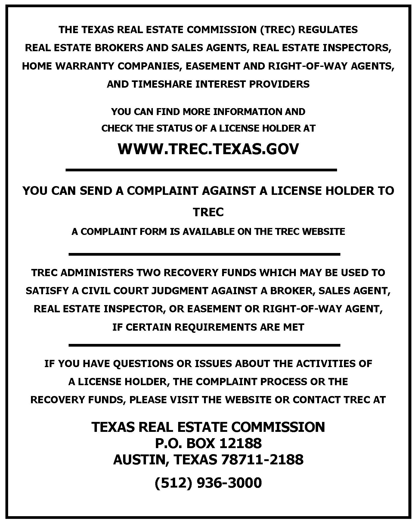 TREC Consumer Notice